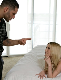 Damon Dice has hired Piper Perri as a babysitter, but he got more than he bargained for. Piper leaves him a scavenger hunt of notes that let him know that she is horny and waiting in his bedroom. Damon tries to tell Piper that he's not interested in cheating on his wife, but she has other ideas and she's not about to take no for an answer. Pulling out Damon's hardon, Piper takes it in her mouth and starts sucking. His objections melt away as he learns just how good Piper is with her sweet lips and magical tongue. When she peels off her dress and panties and orders him to pleasure her in return, he is enticed to feast upon and finger bang her tiny pussy. From there, Piper barely has to try to convince Damon to pound her pussy doggy style. When he sits down and pulls her into his lap, the pint sized coed takes advantage by transitioning to a full-on stiffie ride.Falling to her side, Piper lifts one leg high as Damon continues to play stud from where he's spooning beside her. He eventually gets on his knees as she moans her excitement. The sight of such a tiny young thing beneath him brings Damon to the edge of cumming, and at the very last moment Piper wraps her legs around him to keep him inside so that he fills her with a creampie of delicious jizz.