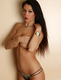 Perfect Alluring Vixens babe Erika G teases with her perky boobs showing the perfect under boob
