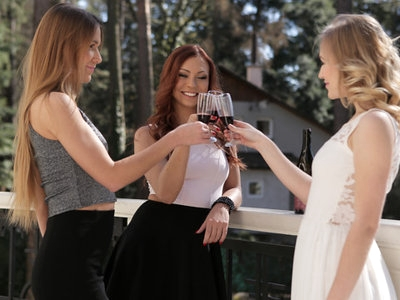 A glass of wine shared between friends is just the start of a sensual evening for Morgan Rodriguez, Aislin, and Alexis Crystal. The three coeds soon take things inside where they can get comfortable on the couch and really indulge in long, lingering kisses. It's not long before they have all gotten their hands in on the action, caressing one another's silky soft skin and moving their clothing out of the way.Morgan is the first to have her thong peeled off and her miniskirt flipped up, but clothes are flying everywhere immediately after. Soon all three girls have removed their clothes so that they can fully indulge in the pleasure that is on offer. Alexis finds herself with Morgan's hand between her thighs, fingering and rubbing her bare twat. Meanwhile, Aislin drops to her knees so that she can enjoy a mouthful of Morgan's snatch. As the trio moves on to something a bit more erotic, Alexis lays on her back with her bottom cradled on Morgan's boobs. That puts her slit in perfect pussy licking position while freeing her up to go to town on Aislin's fuck hole. Aislin can even lean over to join Morgan in pleasuring Alexis for a double delight of excitement.One final shake up ensures that all three girls get every bit of pleasure that they deserve. Morgan finds herself kneeling on the couch with her slit hovering over Aislin's talented mouth. Meanwhile, Alexis is on her knees below the couch so that she can use her fingers and soft tongue to drive AIslin wild. Their lesbian threesome only ends when all three girls are satisfied. With a final exchange of sweet kisses, they return to the couch to cuddle and enjoy the afterglow of great sex.