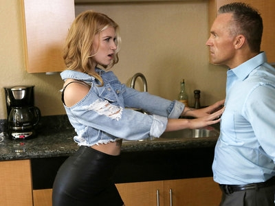 Arya Fae is a trashy coed whose stepdad is sick of her antics. When Marcus London decides to teach his stepdaughter a lesson, Arya fights back. She throws things on the ground, and when she threatens to smash dishes Marcus throws her over his shoulder and spanks her ass through her miniskirt. That's when Arya realizes that Marcus is getting horny spanking her and takes her opportunity to turn the tables.Pulling out Marcus's hardon, Arya laps her way up and down his stiff rod. Using her hands to stroke and her mouth to suck, she melts away any objection her stepdad may have. When she knows she has Marcus right where she wants him, she pushes him back onto the bed and climbs on to ride his stiffie with her slippery fuck hole.When Arya goes back to work with her mouth, Marcus fully surrenders and tries to take back a bit of control. He urges Arya onto the bed so he can feast on her creamy snatch and then slide into her tight twat and start pounding away. Flipping her onto her knees, he takes her doggy style for both of their total pleasure. As he feels his climax upon him, Marcus pulls out so that he can cum all over Arya's lush bottom in a final show of dominance.