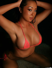 Alluring Vixen beauty Hoshi is joined by her sexy friend Melanie Elyza wearing skimpy string bikini's that leave little to the imagination