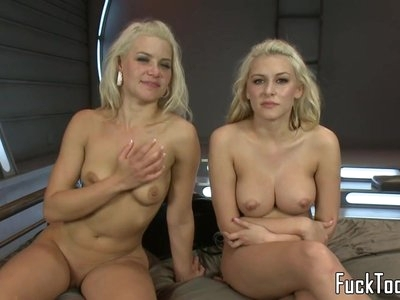 Blonde lesbians share vibrator before toying