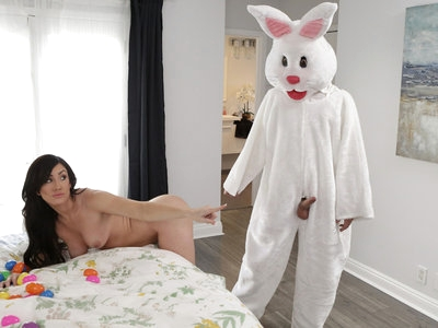 Jennifer White and her husband are trying to keep their sex life as adventurous as possible. Early one morning, Jennifer wakes up to her husband dressed in a sexy Easter bunny costume while he dumps Easter eggs on her. Though Jennifer would love to horse around with her husband, she sends him off to work while she gets in the shower. Her husband pulls her back in for one last round of horsing around, when his son Lucas Frost passes by and gets an idea from his glimpse of their action.While Jennifer is in the shower soaping up her big tits and firm ass, Lucas puts on the Easter bunny suit. When Lucas comes up behind his stepmom post-shower, she lets him have his way with her because she believes he's her husband. After filling his stepmom with a creampie of hot jizz, Lucas wears his costume into his stepsister's room. Piper Perri is equally open to what she thinks are her stepdad's advances, opening her thighs to take him deep inside her bare fuck hole. When Piper gets on her hands and knees to let Lucas fuck her doggy style, he manages a second climax to give his stepsister a creampie of her own. Piper is totally satisfied until the bunny mask falls off to reveal her stepbrother.Emboldened by his success earlier, Lucas joins his stepmother in bed while she's sleeping and starts feasting on her juicy snatch before pounding her from behind. Believing it's her husband, Jennifer lets it happen until she finally looks to see who's fucking her. It feels too good to stop, and they continue on while unbeknownst to either of them Piper is watching and masturbating at the hot sight. When Piper is spotted in the act, she and her mom decide to double team Lucas so he can satisfy each of their twats again. As a reward for his service to their pleasure, the girls stroke Lucas off until he gives them a double facial of cum.