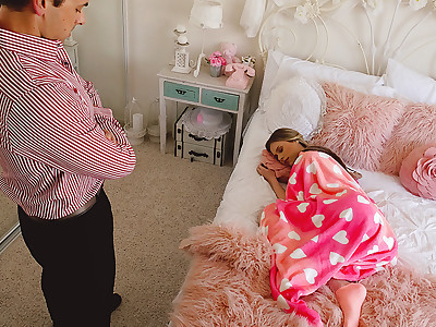 Nanny gets caught on camera lying to her boss. She gets fucked and creampied as punishment.