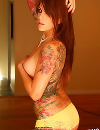 Seductive Alluring Vixens babe Nikki N teases in her sexy yellow lace bra and matching panties