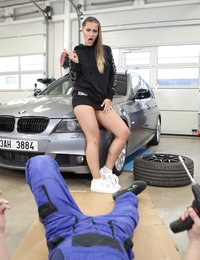 The fat cock of a horny car mechanic quickly rises when a hot fit babe wiggles her posh ass near the luxury car. The babe starts her sex attack from a skillful handjob. The babe quickly takes the hard dick into her sweet mouth for oral caress. Then an adorable hottie takes off the clothes and literally jumps on the hardon to start amazing dick race. Sex at the car shop ends with splashes of male juice between the beautiful buns of the aroused babe.