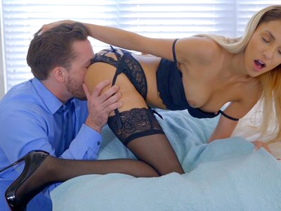 Kyle Mason is attempting to finish up some work on his laptop, but his girlfriend Hime Marie has other ideas for how he ought to spend his time. Strutting up to Kyle in a lingerie outfit comprised of a bra, panties, and thigh-high stockings complete with a garter belt, Hime makes sure she has her boyfriend's attention by closing the laptop. Kyle knows when he's been defeated, so he pulls Hime into his arms and samples each of her small breasts until her nipples are hard little peaks of need.Taking Kyle's hand, Hime leads him to the bedroom where she climbs onto the bed. Kyle knows just what his blonde lover wants as she waves her bottom before him. Dropping to his knees, he pulls Hime into just the right spot with his big hands and then leans in for a lick. The first taste is nowhere near enough, and soon Kyle is face deep in Hime's snatch slurping away at her juices.Hime takes a moment to kiss the taste of her own musk from Kyle's lips before pressing him down onto the bed. Crawling on top of him, she pulls out his fuck stick and wraps her small hand around the base to begin stroking. Her hot little mouth comes down to join her hand, sucking and caressing in time to create the perfect storm of sensation.As soon as she deems Kyle's fuck stick to be ready for duty, Hime crawls up his body and impales herself on the long length. Her hips undulate in a primal motion designed to eke every ounce of pleasure that Kyle can give her from her cowgirl position. As she rides her boyfriend, each thrust brings her down so the penetration is deeper and hotter than the previous round.Rolling onto her back, Hime lifts one leg high to welcome Kyle back into her warm sheath. He presses deep, pushing Hime's leg back so the angle of penetration is just right. Hime's breathy moans fill the room as Kyle fucks her from above, then grow louder than ever when Kyle drops her leg and adjusts her body so that she is partially sideways on the bed while he continues to drive deep inside.One more climax is still within reach as HIme gets on her hands and knees once again. This time Kyle satisfies her with his fuck stick rather than his mouth. His deep strokes are the perfect way of getting Hime off for the final time of the morning. Kyle can't hold back another moment as he feels his girlfriend's pussy throbbing around him. Pulling out at the last minute, he covers her back in jizz while knowing that he has satisfied her cum hungry urges.