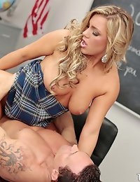 Sexy blonde school babe in cute school uniform with huge tits and nice thick thighs gets her shaved teen pussy pounded by teacher