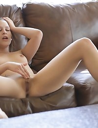 Sweet sexy redhead Abby Paradise slides her eager fingers up and down her bald juicy slit working towards a big climax
