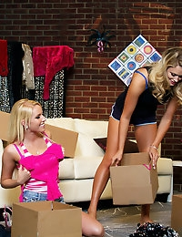 Blonde bombshells Heather Starlet and Vanessa Cage want to have a little fun and decide to experiment on each other lesbian style.
