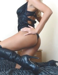 Ariana Jolie in a sexy leather teddy