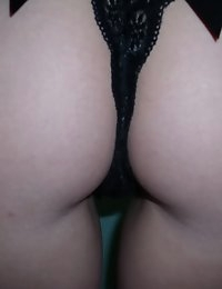 Big breasted girlfriend takes selfshot pictures in the mirror as she gets naked