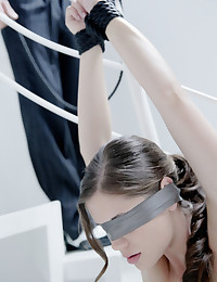 Caprice surprises Marcello by blindfolding and tying herself up for him to enjoy however he wishes. Her only desire is that he uses both her mouth and pussy to get both of them off. The restraint turns him on, as he slides both the rope and his zipper down, bringing Caprice to her knees. She blindly searches for his growing cock, begging to taste it deep in her mouth. Standing her up, he removes her blindfold and bodice..and I think you can guess what happens next!