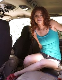 Petite redhead Alice Green gives a wet blowjob and a horny doggy style fuck fest in exchange for a ride into town