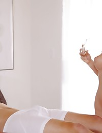 Watch coed Alexis Adams give her man a big wet blowjob and then have a raunchy hardcore romp in her landing strip pussy