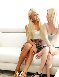 Horny blondes Katerina Kay and Sammie Daniels use their magic fingers to satisfy each others bald juicy pussies