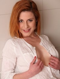 Pussy pump and toy play for pretty redhead babe