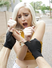 Shoplifter Naomi Woods tries to bargain her way out of going to jail with a lusty blowjob and a raunchy fuck fest
