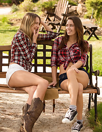 A gorgeous blonde and beautiful brunette sneak away to their cabin in the woods for a weekend of wild sex. Before the boys arrive, Madi and Kenna get down to business. The Great Outdoors has never looked better!