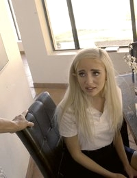 Naomi Woods is in trouble for not doing her homework and the punishment is a spanking and a bald pussy pounding
