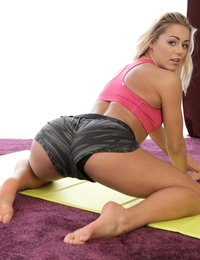 Blonde athlete Christen Courtney gets her dripping bald pussy filled and fucked hard after a sweaty workout