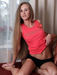 Cute young nympho with long blonde hair Larisa looks like a princess