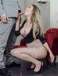 Marc Rose was working hard to close the sale on a luxury home, but his assistant Tamara Grace wanted him working hard in other ways. She teased him at first, rubbing her generous tits and ass through a skin-tight skirt and blouse. Then she went a step further, giving him a footjob through nylon stockings and interrupting a phone call with a long, wet blowjob. When Marc tried to get back to work, Tamara stole his phone and seduced him in the ladies' room with a sexy striptease. He was now in the palm of her hand, not to mention her mouth, as she hungrily licked his balls. With a rock-hard cock, he railed her doggystyle against the sink and marveled as she rode him like a horny cowgirl. Marc came hard all over Tamara's pussy after a deep missionary fuck, bringing their impromptu business meeting to an orgasmic close.