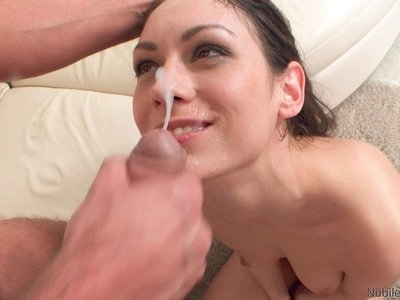 Brunette hottie Arwen Gold gives a wet horny blowjob then slides down to give a stiffie ride in her tight bald fuck hole