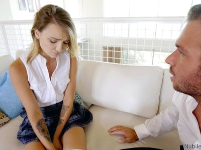 Bad girl Carmen Callaway is spanked hard and then fucked doggy style in her bare snatch as punishment for stealing