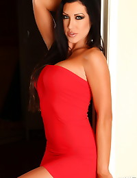 Stunning Alluring Vixen babe Summer shows off her perfect curves in a tight red dress