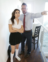 Teen Melissa Moore is ready to go to school without any panties beneath her uniform, but her stepdad Johnny Castle catches her before she can leave the house. He sends her upstairs to get dressed, but Melissa decides to masturbate instead. She's right on the edge of cumming when Johnny finds her and bends her over his knee for a spanking that gets her wetter and hotter than ever. He can't resist the urge to drive a finger deep into her naughty little twat.Continuing to spank and squeeze, Johnny keeps it up until he can't stand another moment without Melissa's mouth wrapped around his stiffie. She drops to her knees happily and keeps her hands behind her back while her stepdad fucks her mouth. When Johnny urges her onto her hands and knees, she takes his hardon deep in her greedy snatch with a moan of absolute bliss.Once they start fucking, Melissa and Johnny can't stop until they're both satisfied. Melissa takes a round of pussy pounding on her back, and then climbs aboard and rides her stepdad like her personal steed until her pleasure consumes her. Falling onto her side again, she puts her mouth back to work sucking Johnny off until he explodes in a cum shower all over her jiggling boobs.