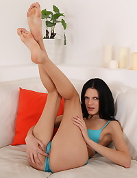 Gorgeous dark haired Mia toys her pussy and ass photo #2