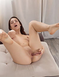 Hot brunette toys both her pussy and ass photo #13