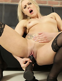 Hot blonde MILF uses massive dildos on her pussy photo #15