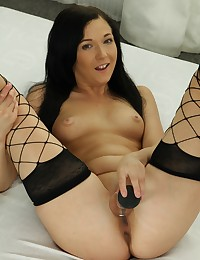 Foxy Anne toys both of her holes with vibrator photo #7