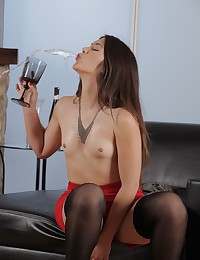 Stunning brunette with hairy pussy pisses photo #5