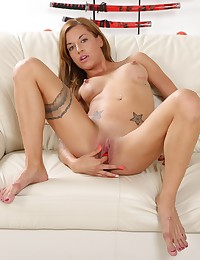 Sexy Silvia toys her pussy hard with a black dildo photo #5