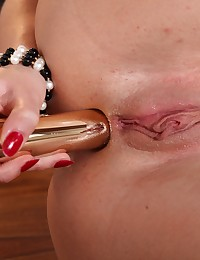 Sexy brunette toys a pussy pump and vibrator photo #10