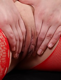 Pretty brunette shows her pussy in bodystocking photo #4