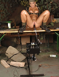 Hot military blond babe gets herself fucked by a machine photo #13