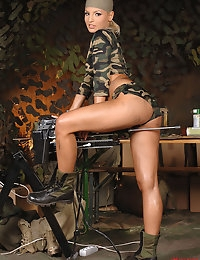 Hot military blond babe gets herself fucked by a machine photo #3