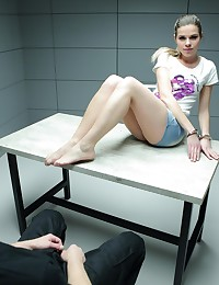 Sexy Blonde is Fucked in an Interrogation Room photo #2
