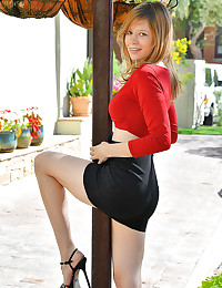 Upskirt In Red photo #4