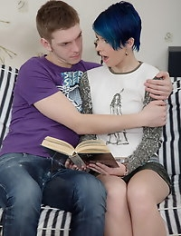 Blue-haired teen enjoys hot sex and then gets her pussy creamed photo #4